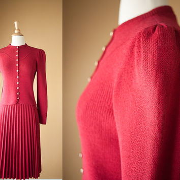 Vintage 70s St John Suit| Knit Suit Cranberry Red Sweater Accordion Pleat Skirt Fitted Jacket Logo Buttons Small XS Red Holiday Fall Fashion