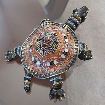 Alexander Kalifano Turtle Trinket Box covered in Swarovski Crystal Rhinestones