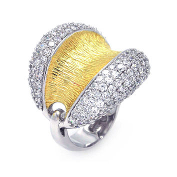 .925 Sterling Silver Rhodium Gold Plated 2 Toned Clear Pave Set Cubic Zirconia Open Dome Ring: Size:5