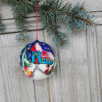 Christmas tree ornament, large felted Christmas ball with beautiful scenefrom small village, OOAK