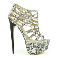 Fahrenheit Vicky-15 Cut-out Strappy Platform Pump in Snake @ ippolitan.com