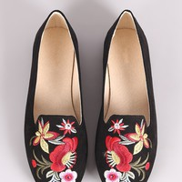 Embroidered Floral Suede Loafer Flat