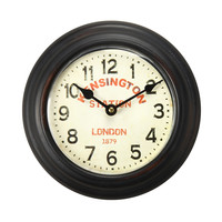 "Furnistar Brown Iron Retro Round Wall Clock ""Kensington Station"""