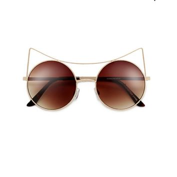 Women Eyewear High Pointed Brow Bar Circle Brown Cat Eye Sunglasses