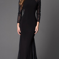 Long Sleeve Xtreme Lace Back Prom Dress