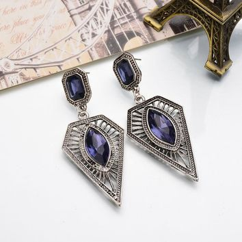 Attic Geometric Drop Earrings crystal gem triangle earring