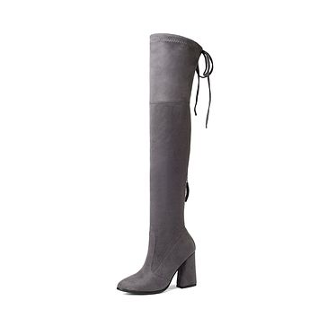 Faux Suede Over the Knee Boots Winter Shoes for Woman 4675