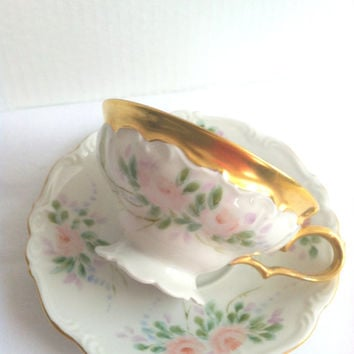 Vintage Edelstein Bavaria Germany Tea Cup and Saucer/Fine Bone China/Bridal Gift