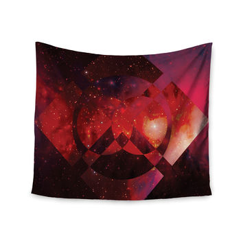 "Matt Eklund ""Galactic Radiance Crimson"" Red Pink Wall Tapestry"