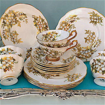 6 Vintage Royal Albert Tea Cup Trios, Bridal Shower Tea, Gold, Teacup Set, Vintage Tea Cups,China Wedding Gift, Luncheon