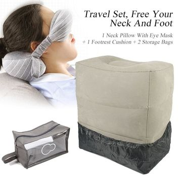 XC USHIO Portable Travel Set Travel Neck Pillow Eye Mask Inflatable 3 Layer Footrest Cushion With Dust Cover& Storage Bag Train