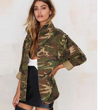 Fashion Women Loose Camouflage Coat Stand Collar Pocket Long Sleeve Zipper Outwear Jacket
