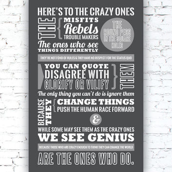 STEVE JOBS - Here's to the Crazy Ones. -- Steve Jobs Quote - Apple Ad - Typography poster print