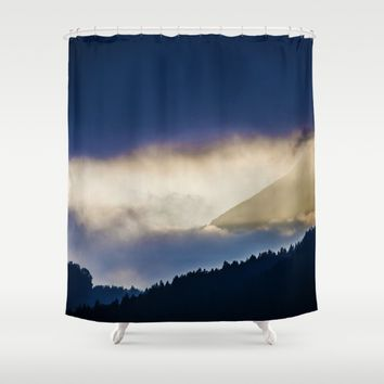 Sky Blue Tree Silhouette Shower Curtain by Mixed Imagery