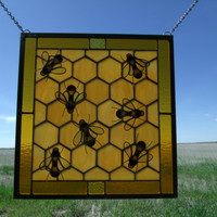 Stained Glass Apiary, Honeycomb Decoration, Beekeeping Gift, Honey Bee Colony Artwork, Custom Stained Glass Window Panels by Cityfreeglass
