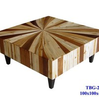 Mixed Wood Coffee Table Custom Sizes & by ThaiSlabFurniture
