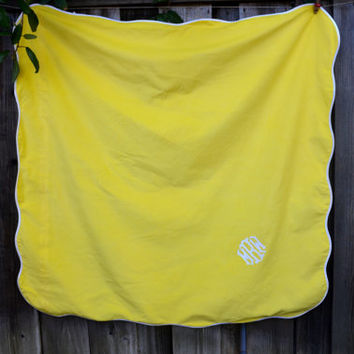 "Vintage Yellow Tablecloth, Monogrammed, 48"" Square, Card Table Size, Yellow and White, The Galante Studio, circa 1960s"