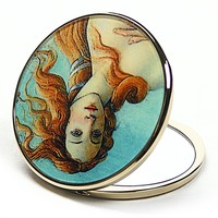 Birth of Venus Purse Handbag Cosmetic Magnification Mirror by Botticelli 2.75H