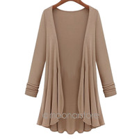 Poncho Crochet Knit Long Sleeve Sweater
