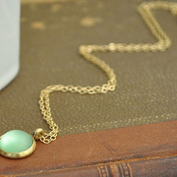 MOONLIT vintage green glass moonstone cab necklace with 14k gold filled chain, bridal gift, mother's day gift, holiday gift