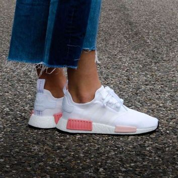 LMFUX5 Adidas WMNS NMD R1 Footwear White/Icey Pink Boost Sport Running Shoes Classic Casual Shoes Sneakers