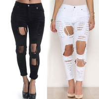 New 2015 Womens Ladies Ripped Knee Jeans Skinny Faded Casual Slim Fit Cool Denim High Waisted Jeans Jegging Trousers