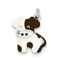 CZ Brown & White Enameled Polished Cow Charm in Sterling Silver