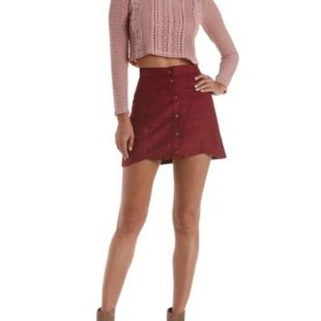 Burgundy Scalloped Button-Up Faux Suede Skirt