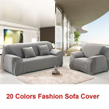 Sofa Covers 1-Piece Spandex Fabric Slipcover (Sofa, Gray)