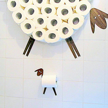 Set: Wall shelf  for storing of toilet paper rolls and toilet roll holder. Funny Wall Decals Sheep and Lamb made of various kinds of veneers