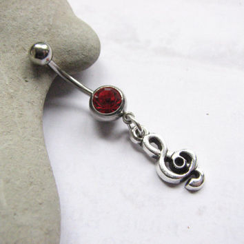 Music Symbol Bellybutton Ring, Treble Clef Red Belly Button Jewelry
