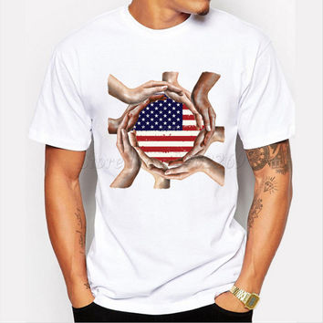 New animal design cat with USA flag glass printed men's customized t-shirt male short sleeve creative hipster funny tops/tee