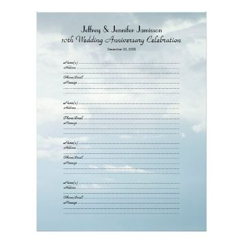 10th Anniversary Party Guest Book Sign-In Page