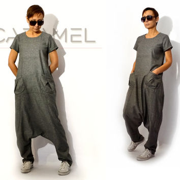 Jumpsuit/Loose Jumpsuit/Woman Jumpsuit/Drop Crotch Pants/Harem Pants/Pants Baggy/Casual Jumpsuit by CARAMEL fs - SW-7315