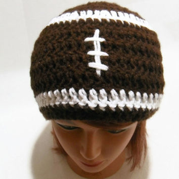 Crochet Football Beanie Hat in Brown and White