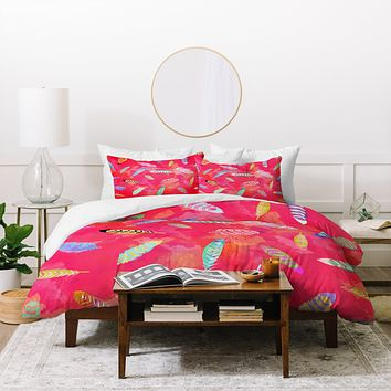 Kangarui Sunset Feathers Duvet Cover