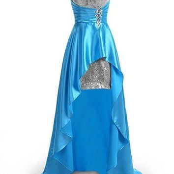 TDHQ Women's Hi-Lo Sexy Sweetheart Beaded Sequins Evening Party Gowns Prom Dresses