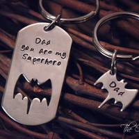 Hand Stamped Father Son Key Chain Set Superhero Batman