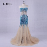 LORIE Evening Dress With Crystal Long Formal Tulle Champagne Women Mermaid Prom Gowns 2017 Vestidos De Graduacion Party Dresses