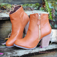 Lost Creek Cognac Leather Booties