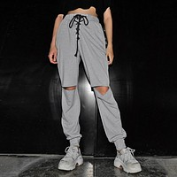 Women Casual Fashion Strappy High Waist Ripped Hollow Leisure Pants Trousers Sweatpants