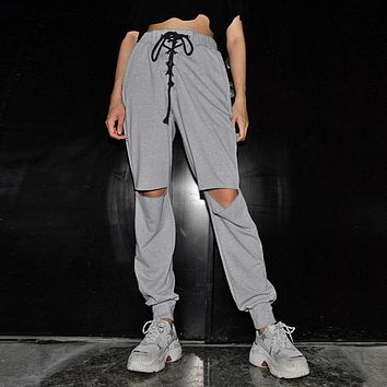 Women's Knee Hole With Casual Pants  [2076689268833]