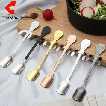 1PC Stainless Steel 12.8CM Cup Spoon Skull Handle Coffee Spoon Cream spoon