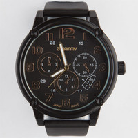 Gold Dial Rubber Band Watch Black One Size For Men 22152210001