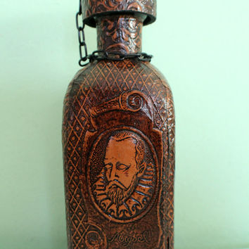 SALE! Vintage Spanish Leather Wrapped Decanter Empty Bottle Don Quixote Miguel De Cervantes, Leather Covered Bottle, Glass Canteen Bottle