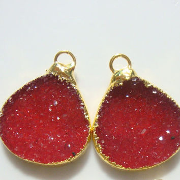 Gorgeous Red, Agate Drusy Drusy 24K Gold Electroplated Pendants, Lots of Sparkling, 15R