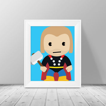Thor Art -  Superhero Art, Instant Download , PRINTABLE 8x10, Kids Wall Art , Nursery Wall Art, Playroom Art