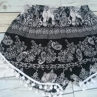 Black Pom pom Short Elephants Unique Boho Print Summer Beach Chic Fashion Trim Tribal Aztec Ethnic Clothing Bohemian Ikat Cloth Hobo
