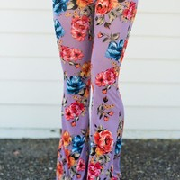 Cher Printed Flare Pants - Purple Floral