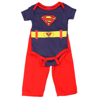 Superman Costume Infant Onesuit Pants Set